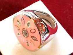Hatalmas ezüst gyűrű tűz zománc diszitéssel