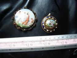 Régi zománcos bross és medál antik