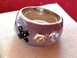 Ezüst gyűrű tűz zománc diszitéssel