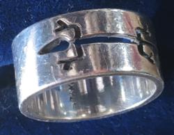 EZÜST mexikói gyűrű-áttört  - gyikkal