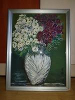 Szép virágcsendélet, valszín.kartonra, olaj, üvegezett keretben