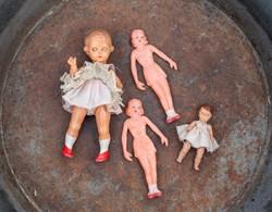Játék baba csomag - 4 baba együtt - bakelit? merev műanyag régi babák - öltöztetős babák