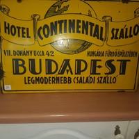 Hotel Continentál régi zománc tábla