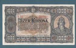 1000  Korona 1923 Magyar Pénzjegynyomda Rt.