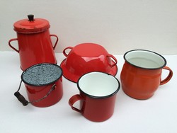 Régi vintage piros zománcos zománcozott bödön ételhordó bögre tál pohár ételes