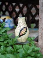 B. Várdeák Ildikó váza - jelzett retro iparművész kerámia váza