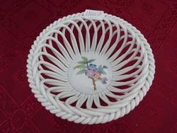 Herendi porcelán, Viktória mintás fonott kosár, felső átmérője 13 cm.