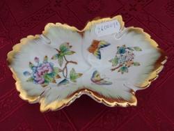 Herendi porcelán Viktória mintás, levél formájú asztalközép.