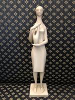 Zsolnay porcelán fehér mázas korsós nő-Török János terve 1960-ból