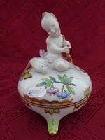 Herendi porcelán, Viktória mintás bonbonier. Három lábon áll, puttó fogantyúval.