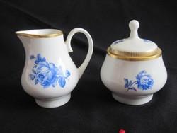 Antik Kahla porcelán tejkiöntő és cukortartó