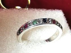 Ezüst gyűrű (rubin, smaragd, zafír) kövekkel