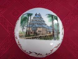 Zsolnay porcelán, antik, pajzspecsétes bonbonier, átmérője  8 cm.