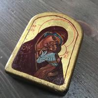 Kézzel festett kis méretű fa ikon