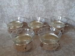5 db hibátlan ezüstözött pohártartó üveg betéttel