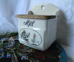 Svéd fajansz fali liszt tartó, fűszertartó, sótartó