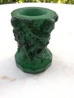 Zöld üveg váza, malachit zöld extra darab