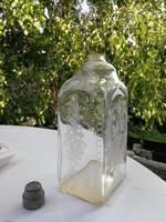Butélia, butella üveg, galambokkal,palack, fújt üveg  ón kupakkal flaska, szerelmes galambok, népi.