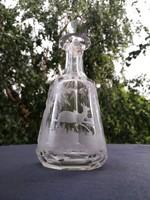 Biedermeier antik palack flaska, csodálatos csiszolt, plusz szarvasos erdei jelenettel! Vadász téma.