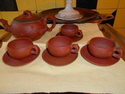 Japán antik terakotta kancsó 4 csésze +4 csészealj -plasztikus díszítéssel