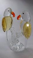 XX.század második felében készült, jelzetlen üveg papagáj pár.