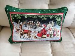 Villeroy & Boch karácsonyi gobelin díszpárna, tolltöltetes