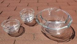 Régi súlyos vastagfalú üveg kompótos készlet