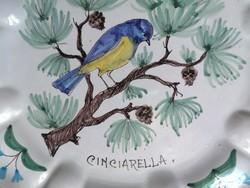Régi olasz kézzel festett fajansz falitányér