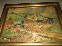 Vass Albert : Erdélyi falu -  antik festmény, 1 forintról, garanciával!