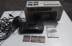 Nagyon ritka régi retro Atari Lynx játékgép kézi konzol 3 db játékkal és dobozzal együtt