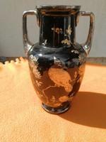 Antik szecessziós,sötét üvegváza, ezüst festés, festménnyel! Virágos, pillangós! Moser stílusú üveg