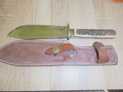 Csont nyelű vadász kés bőr tokban