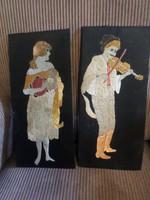 2 db 39 x 18 cm-es , hímzett , festett kép keret nélkül , egyben .