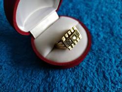 Antik 14K női gyémántos-brilles gyűrű