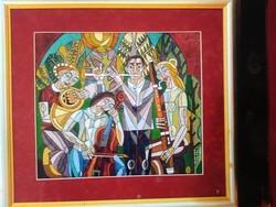 Józsa János festőművész Zenélők a szabadban