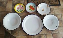 6 db - os zománcos tányér csomag nagy fehér Budafoki ritka 32 cm-es, tálca Körtés Kőbányai, virágos