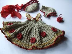 Régi antik babaruha, baba ruha garnitúra egyben
