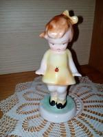 Bodrogkeresztúri katicás kislány kerámia