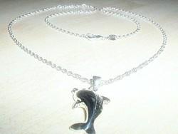 Ugró Delfin 925  ezüst - fehérarany nyaklánc