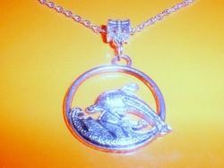 Amulett Ugró Delfin Uniszex Tibeti ezüst nyaklánc