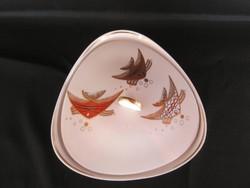 Wallendorf porcelán aranyozott hal díszítésű nagy méretű bonbonier vagy kekszes doboz