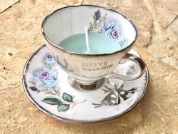 Angol rózsamintás Porcelán Mentazöld illatgyertya teás csésze+alj Párban ezüstlakodalom ajándék
