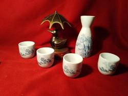 007 4 személyes levél mintás porcelán röviditalos készlet pohár 5 cm kiöntő 13 cm