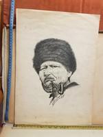 ?óra Lajos, 1942, grafika, portré egy Öregről, tajtékpipával, méret jelezve!