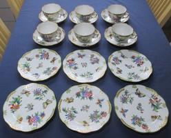 Viktória mintás herendi porcelán teás és süteményes készlet