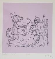 Reich Károly- Kutya, macska, egér 40 x 50 cm szitanyomat