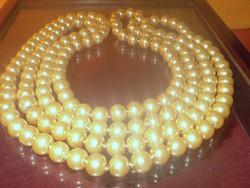 175 cm-es ! Arany krém árnyalatú Extra hosszú Igazgyöngy Nyaklánc