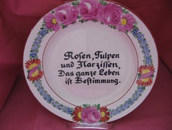 Antik rózsás kézzel festett feliratos tányér