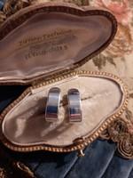Ezüst ovális karika fülbevaló francia zárral ag925