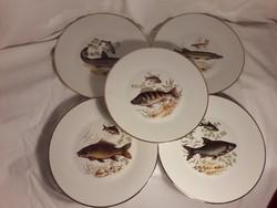 Vintage J.K.W Bavaria Carlsbad W. Germany 5 db porcelán tányér hal mintával 24,5 cm